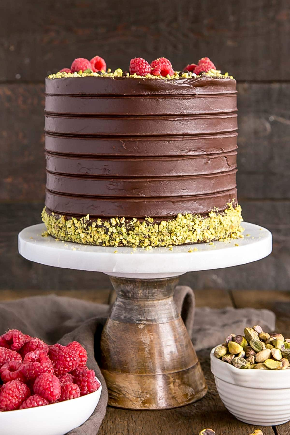 This Pistachio Cake with Dark Chocolate Ganache