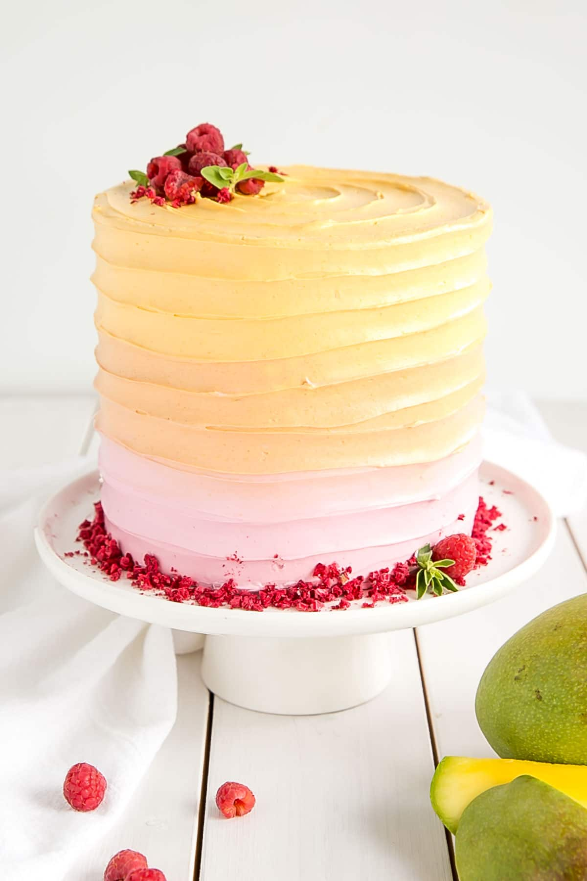Raspberry Cake with Mango buttercream and freeze-dried raspberries