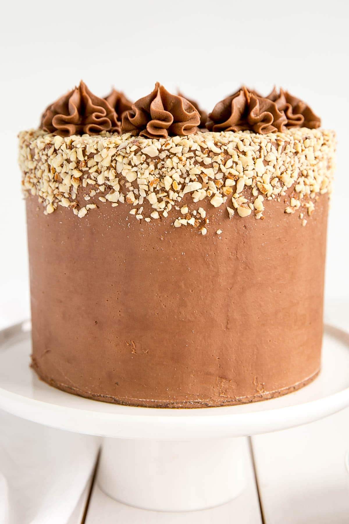 Close up a Milk Chocolate Almond Cake.