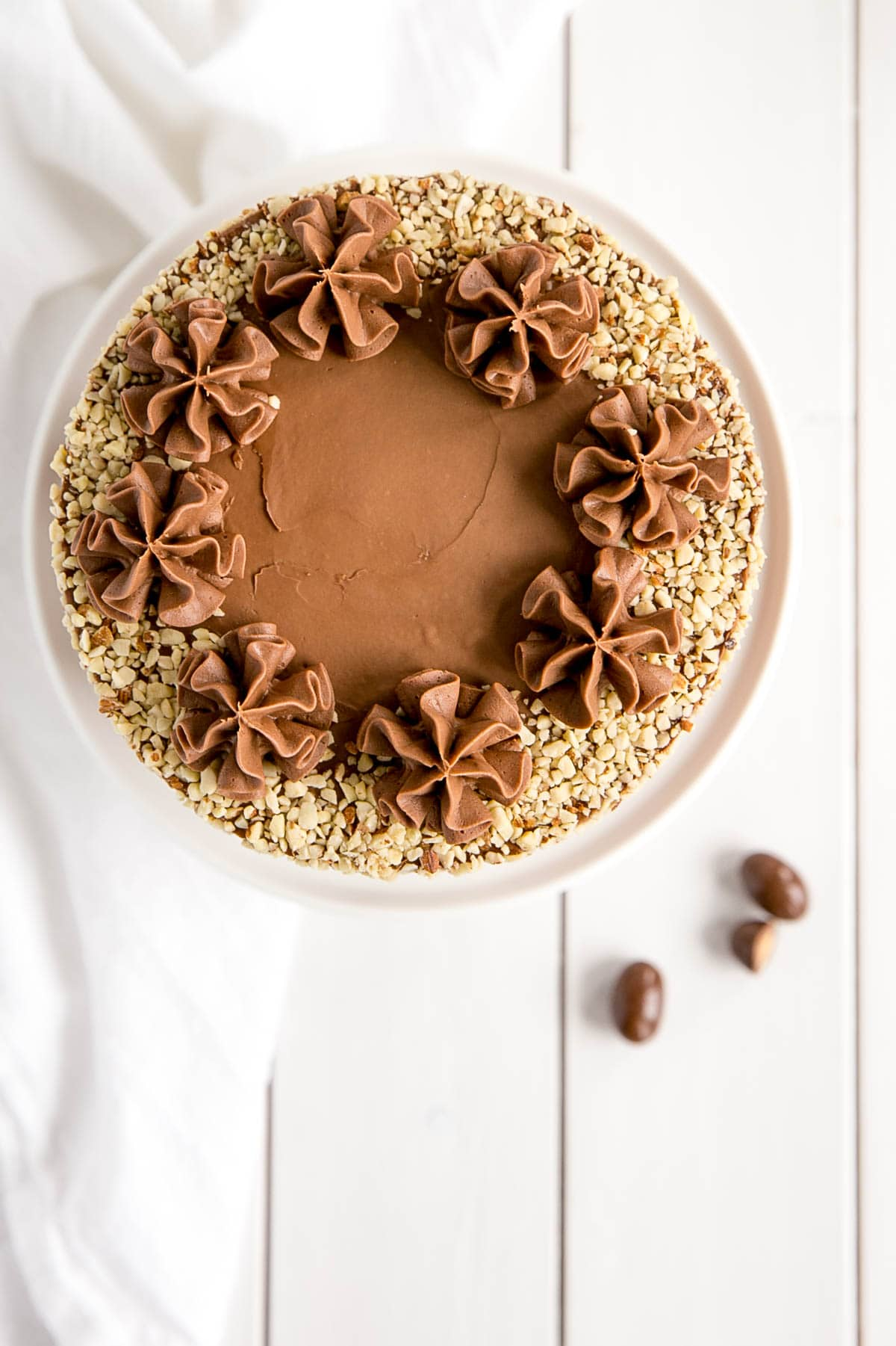 Overhead picture of the Milk Chocolate Almond Cake.