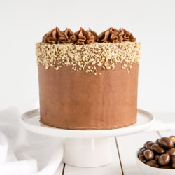 Milk Chocolate Almond Cake! Fluffy almond cake layers with a rich milk chocolate ganache frosting. | livforcake.com