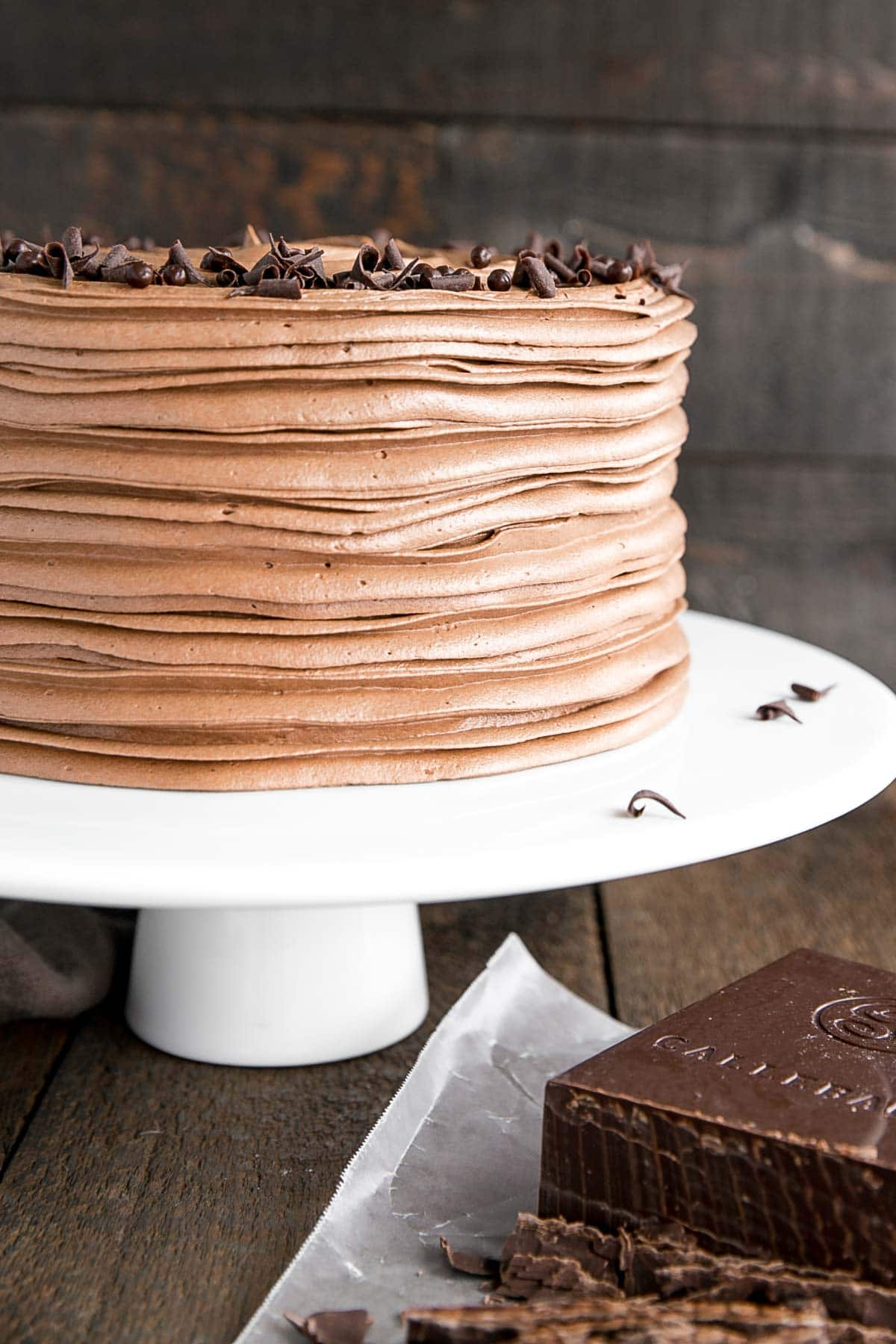 Chocolate cake with chocolate swiss meringue buttercream