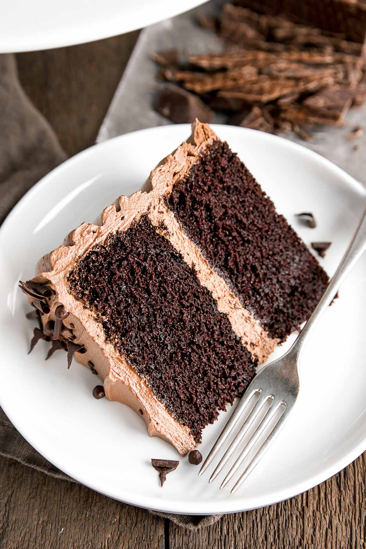 Slice of chocolate cake with chocolate buttercream