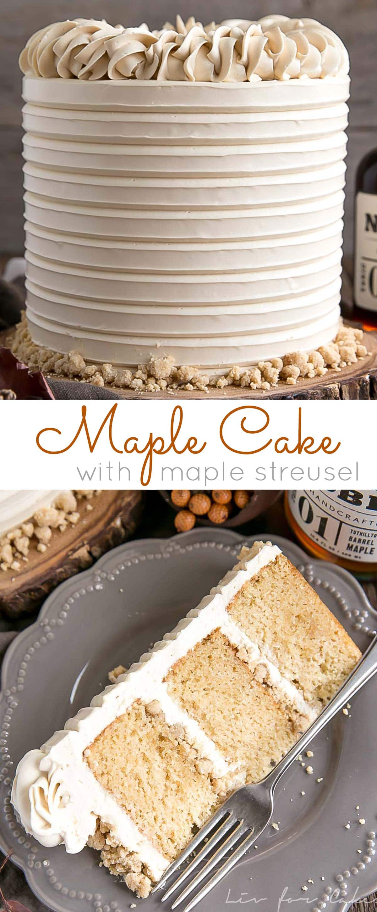 This Maple Cake is packed with pure, natural maple flavour throughout. Maple cake layers with a maple buttercream and maple streusel.