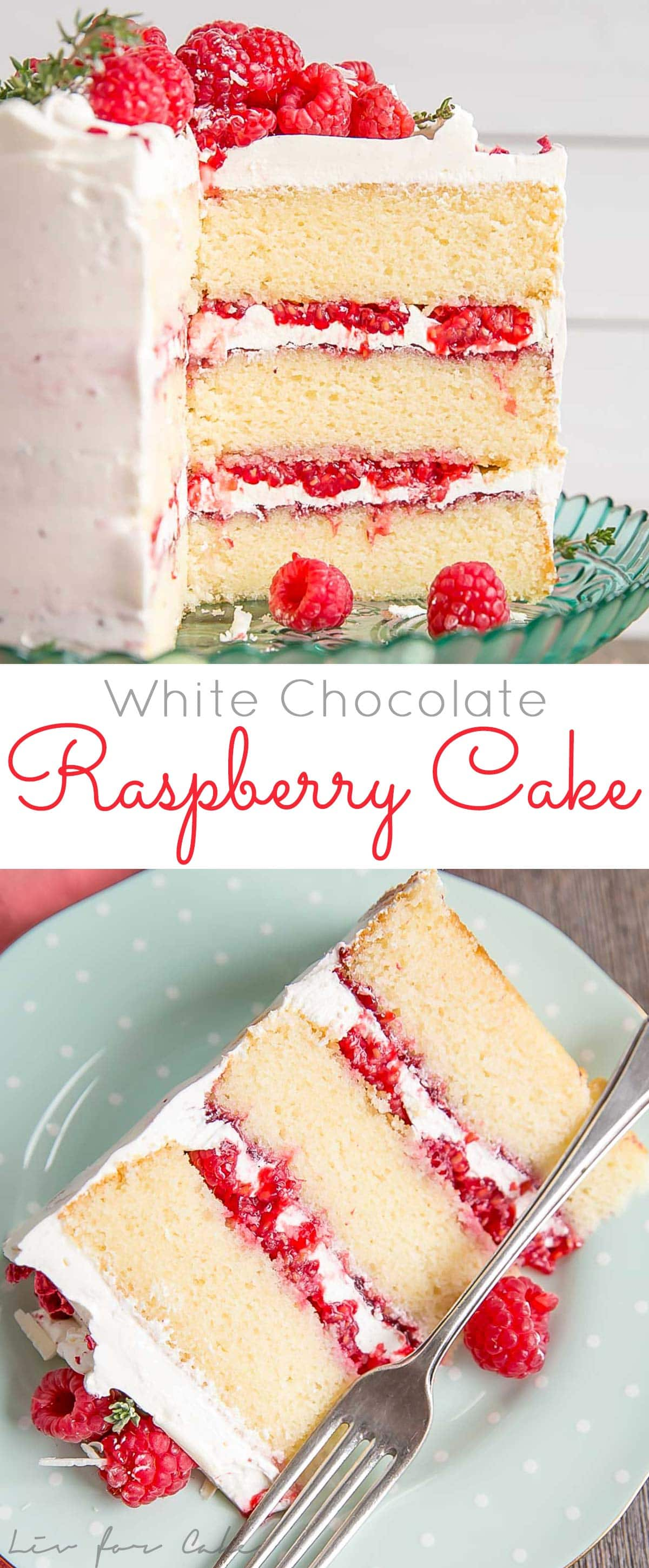 This White Chocolate Raspberry Cake combines white chocolate cake layers with a white chocolate swiss meringue buttercream, fresh raspberries, and raspberry jam. A perfect flavour combination!