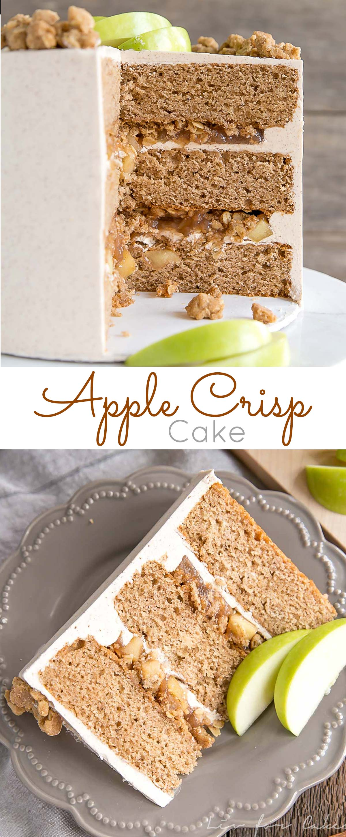 This Apple Crisp Cake pairs spice cake layers with a delicious homemade apple pie filling and apple crisp crumble. | livforcake.com