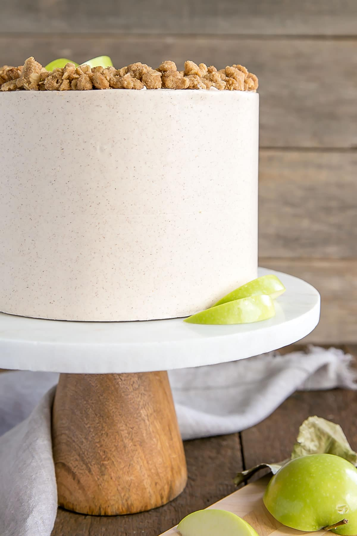 Spice cake with cinnamon buttercream and apple filling.