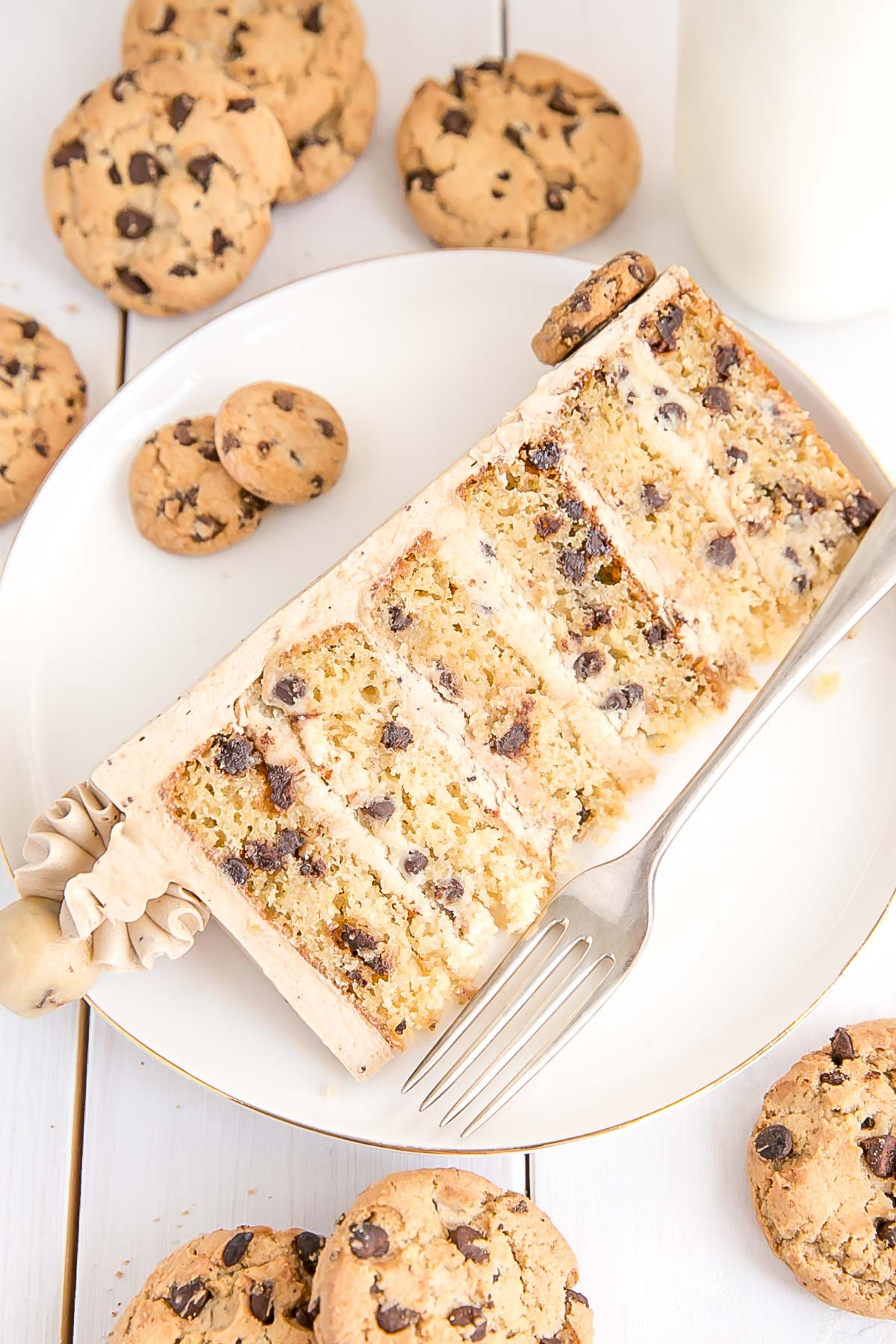 Slice of Chocolate Chip Cookie Cake with 6 layers.
