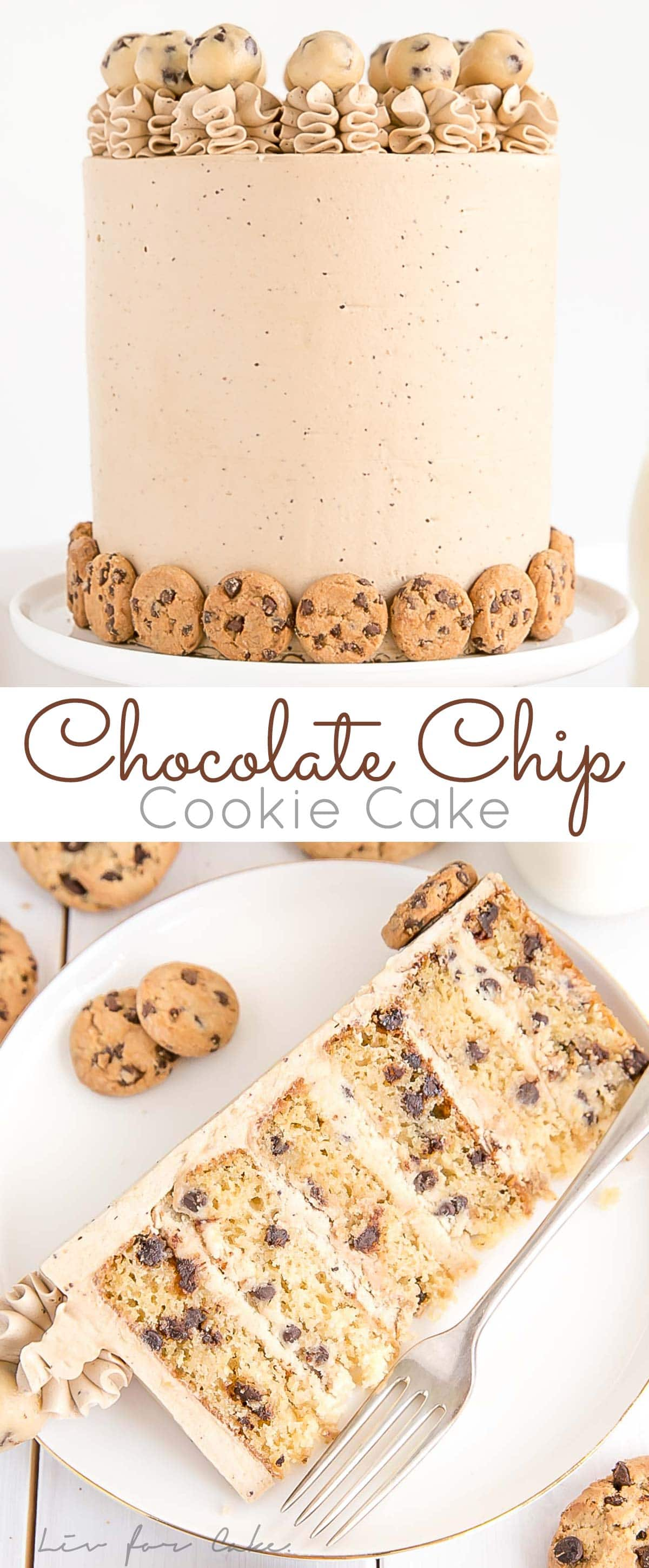 This Chocolate Chip Cookie Cake has brown sugar chocolate chip cake layers, a cookie dough filling, and a chocolate chip cookie frosting!