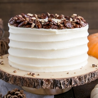 Pumpkin Cake with Candied Pecans