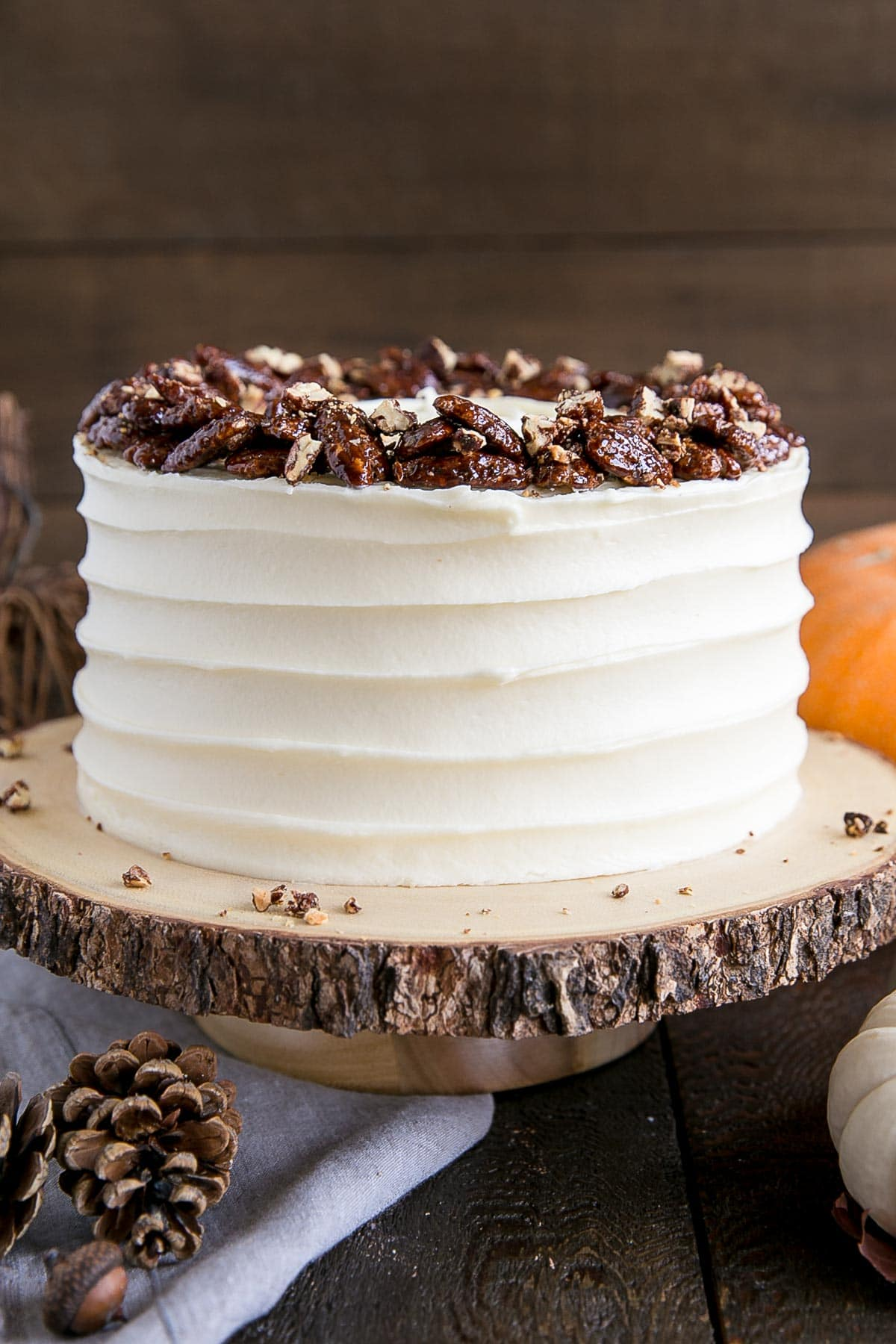 Pumpkin Cake with Cream Cheese Frosting and Candied Pecans.