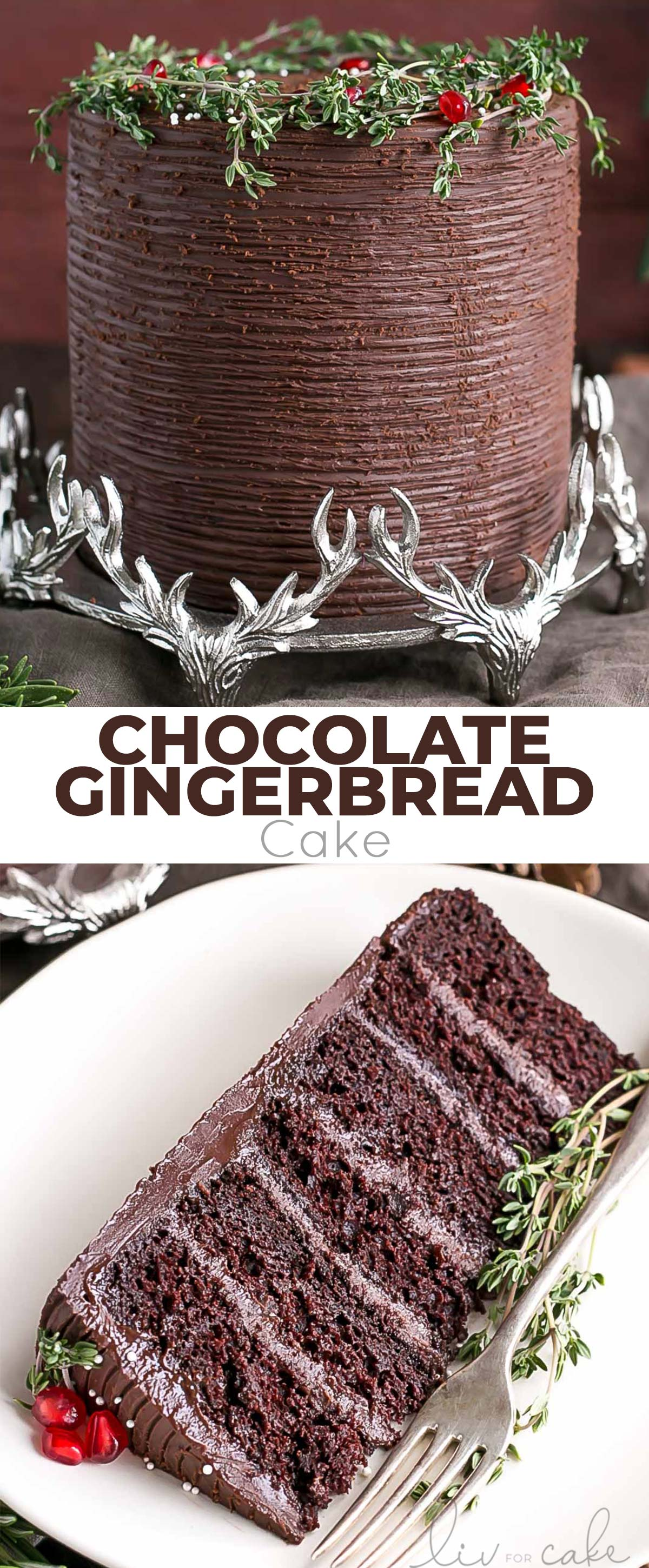 Chocolate gingerbread cake photo collage.