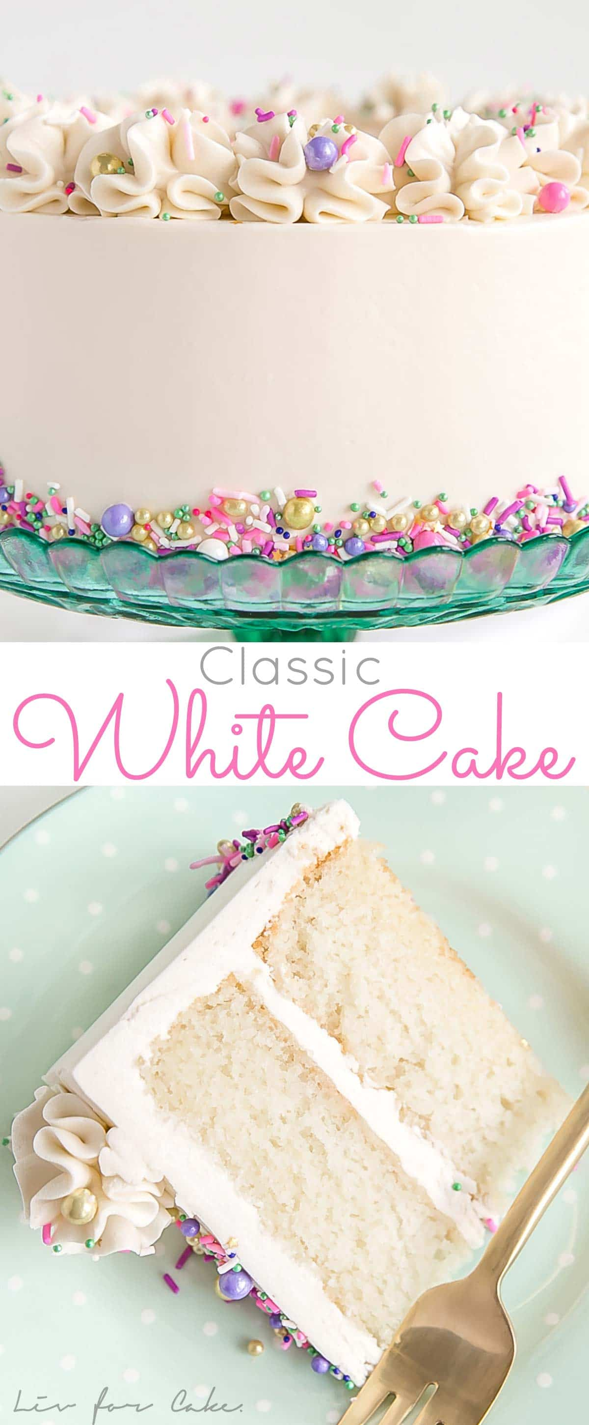 This Classic White Cake recipe pairs fluffy vanilla cake layers with a silky white Swiss meringue buttercream.