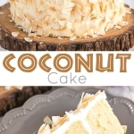 This moist and delicious coconut cake recipe is infused with natural coconut flavour throughout and decorated with giant toasted coconut flakes. | livforcake.com