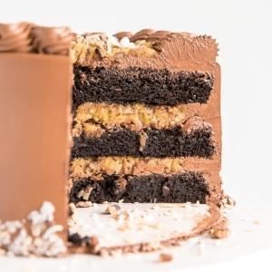 A piece of chocolate cake
