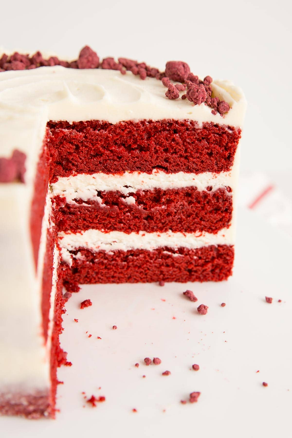 Close up of the inside of a red velvet cake.