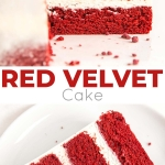Classic Red Velvet Cake! Tender red cake layers with a hint of chocolate paired with a tangy cream cheese frosting and a red velvet crumble. | livforcake.com