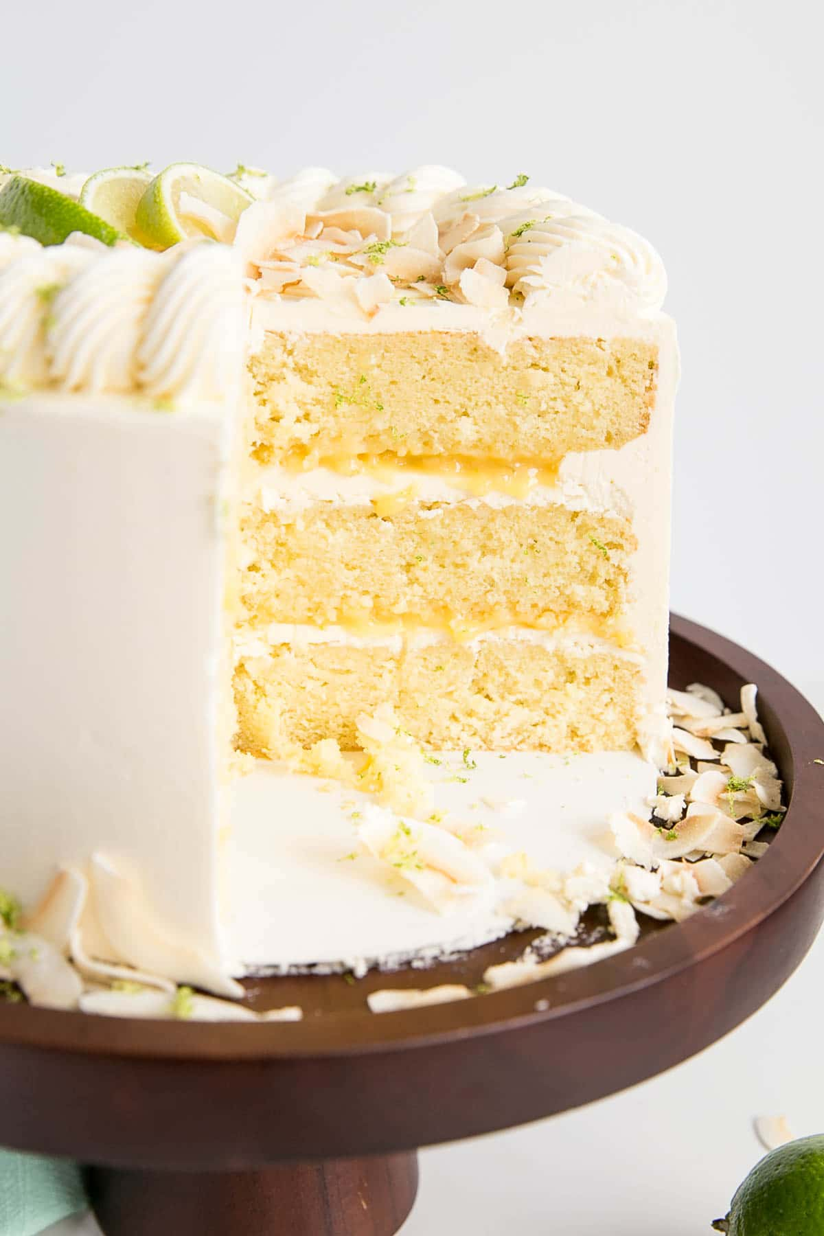 Cross section of a Lime & Coconut Cake