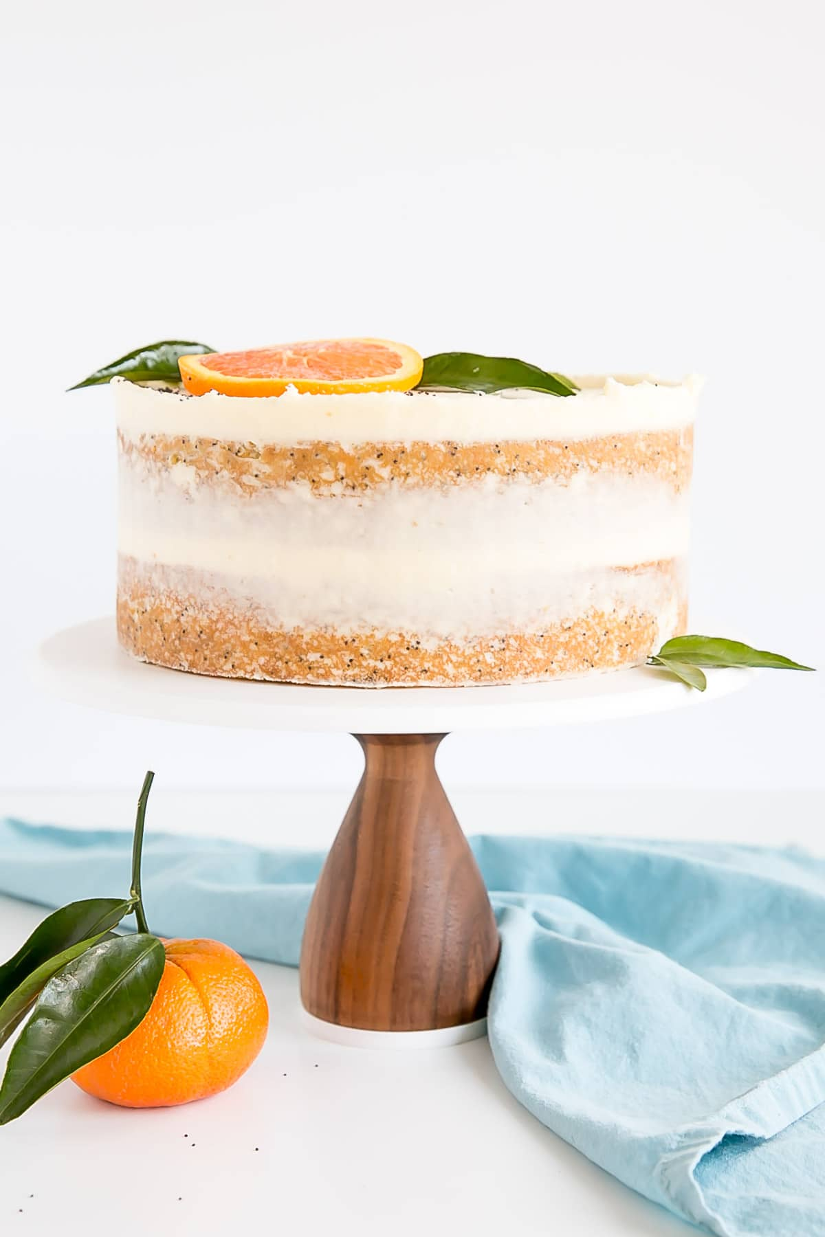 Orange poppy seed cake with mascarpone buttercream.