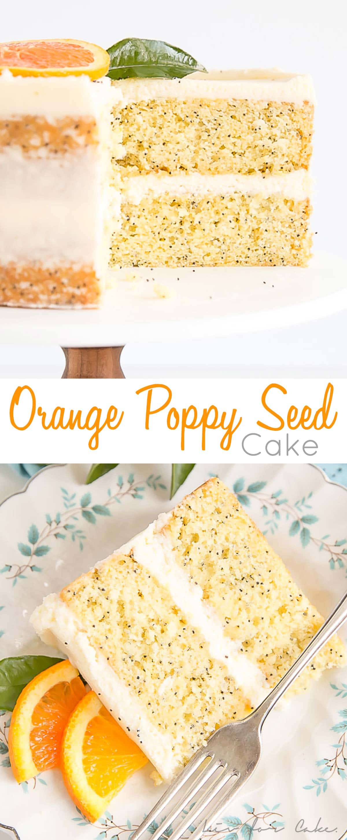 Tender Orange Poppy Seed Cake layers with a delicious mascarpone frosting.