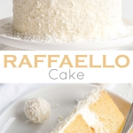 This Raffaello Cake is a coconut lovers dream! Layers of moist and tender almond cake, coconut custard, and coconut Swiss meringue buttercream! | livforcake.com