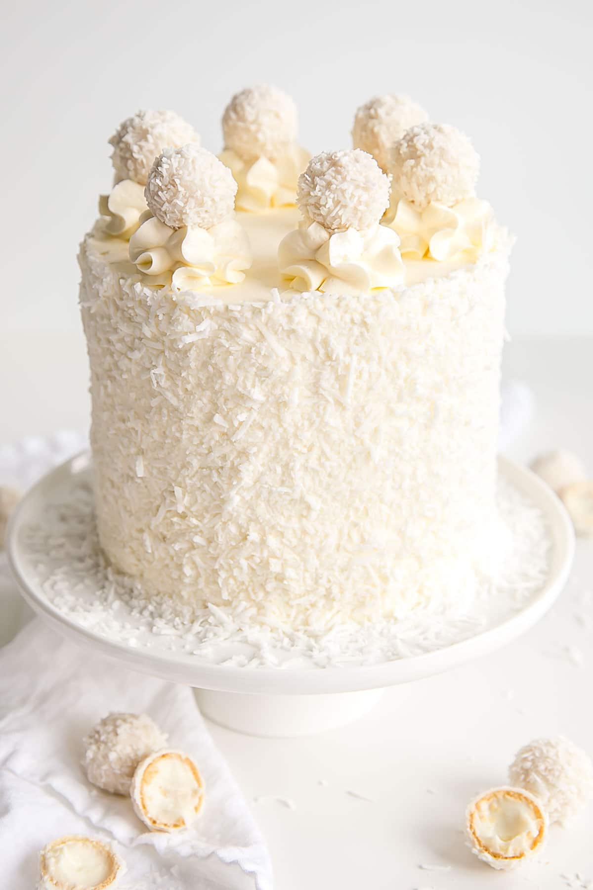 Raffaello cake with Swiss meringue buttercream.