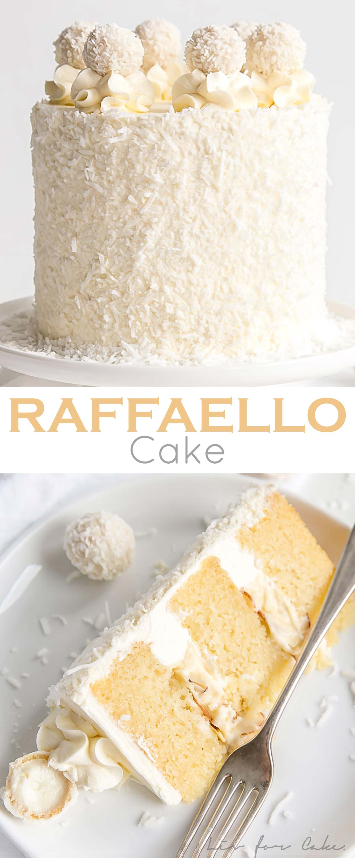 This Raffaello Cake is a coconut lover's dream! Layers of moist and tender almond cake, coconut custard, and coconut Swiss meringue buttercream.
