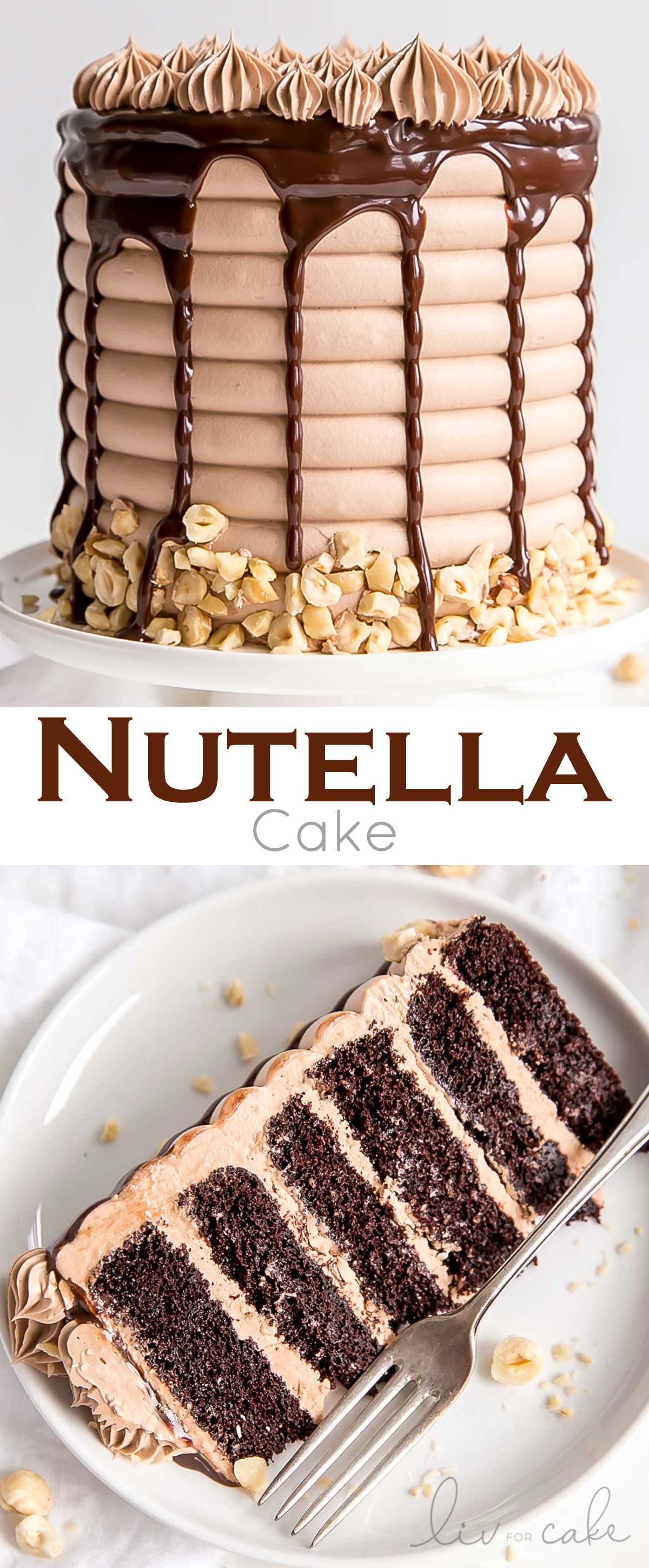 This Nutella Cake is six layers of pure decadence! Delicious chocolate cake layers, Nutella buttercream, and Nutella ganache.| livforcake.com