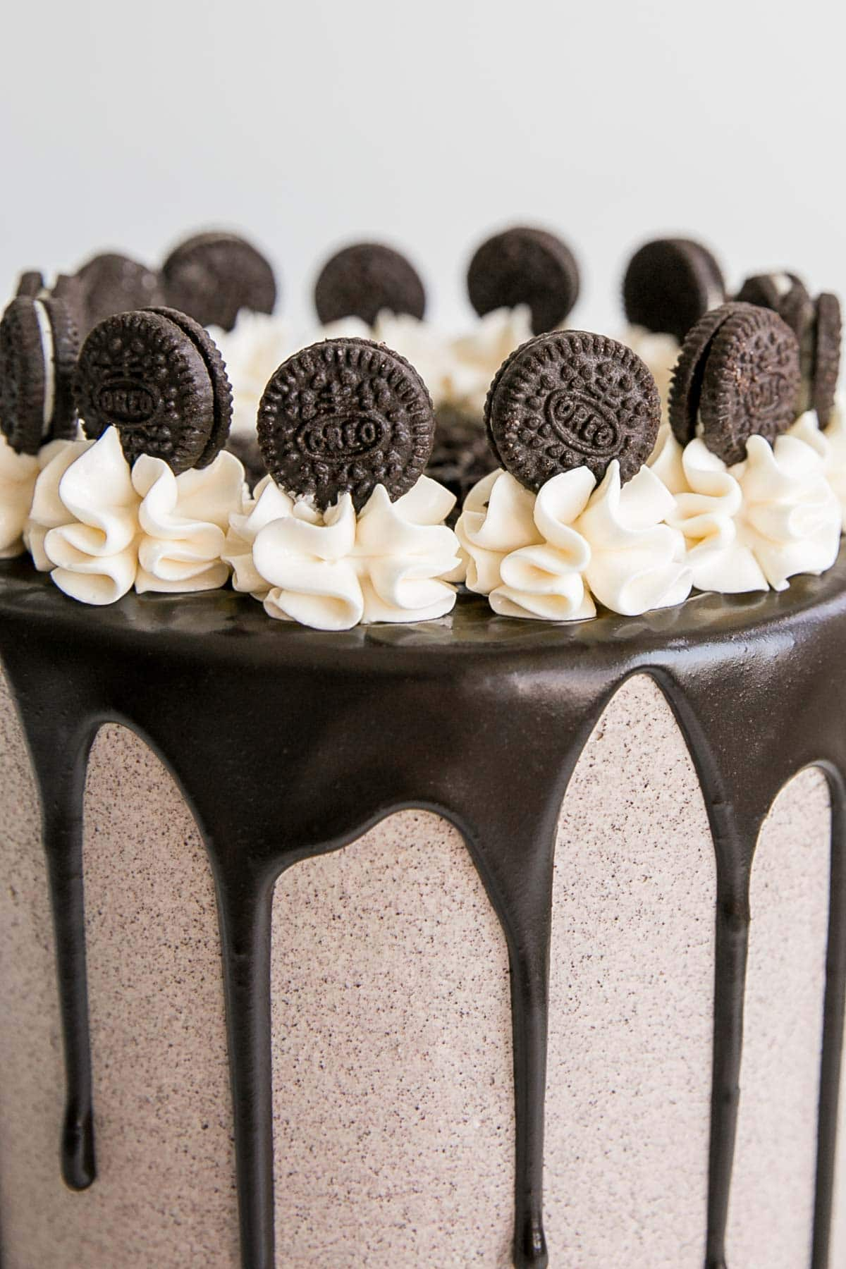 Close up of mini Oreos on top of a Cookies and Cream Cake.