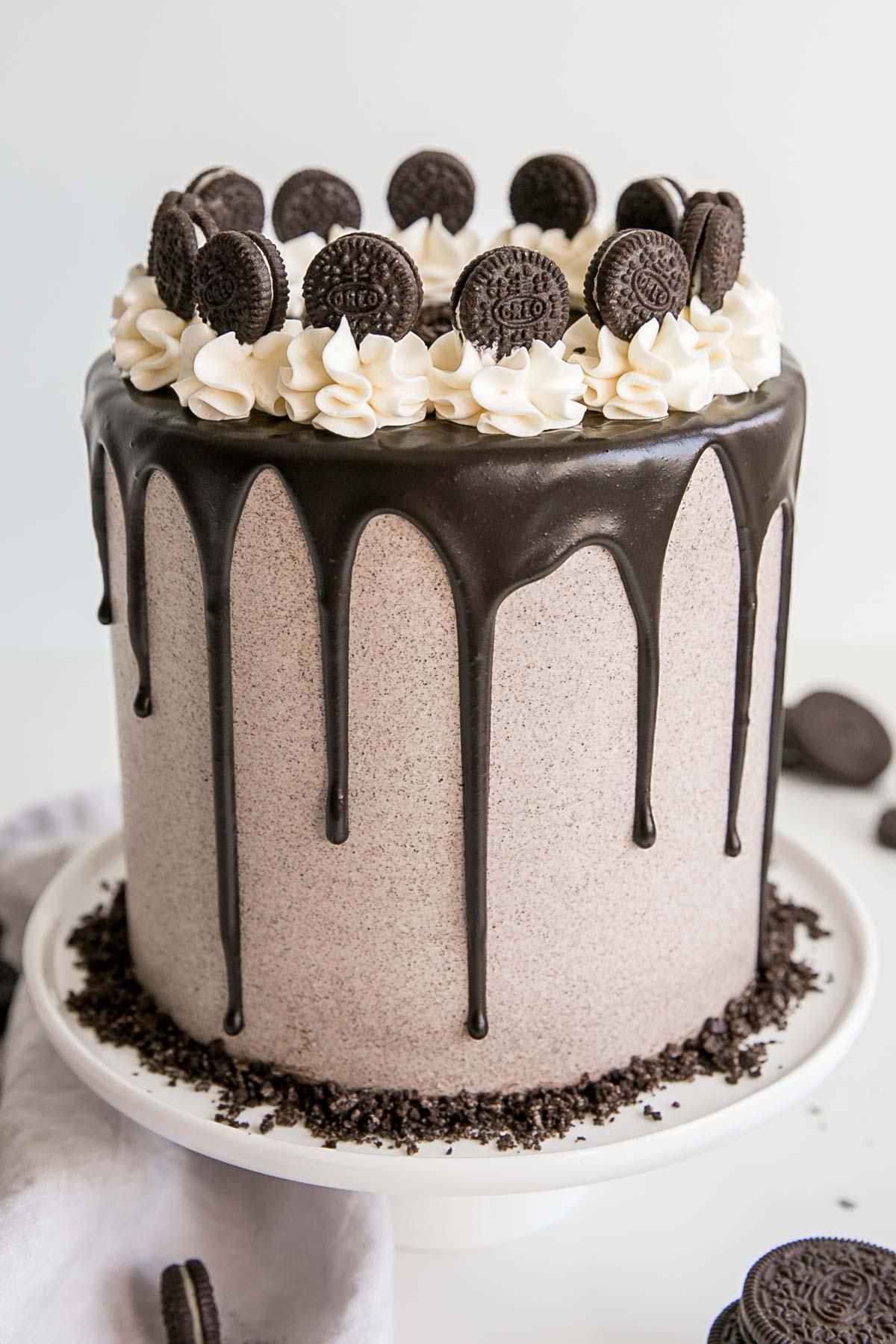 Six layer Oreo cake with Oreo buttercream and a dark chocolate ganache.