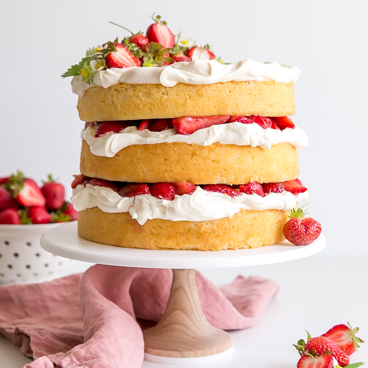 Strawberry Shortcake Cake With Mascarpone Cream Liv For Cake
