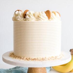 Cake on a cake stand.
