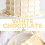 This White Chocolate Cake is both decadent and delicious! White chocolate is incorporated into the cake layers, the frosting, and the drip for a stunning monochrome effect.   livforcake.com