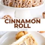 This Cinnamon Roll Cake is packed with cinnamon flavour! A layer of cinnamon rolls sandwiched between two cinnamon swirl cake layers, covered in a cream cheese frosting.   livforcake.com