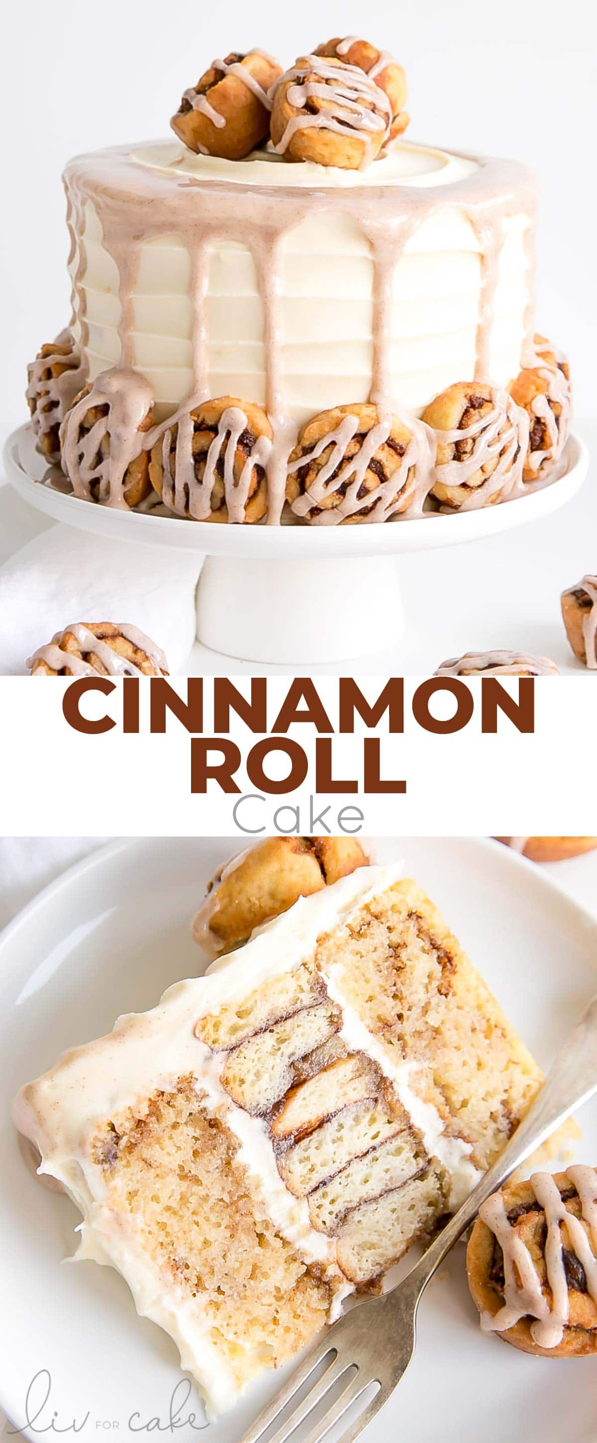 Cinnamon Roll Cake collage.