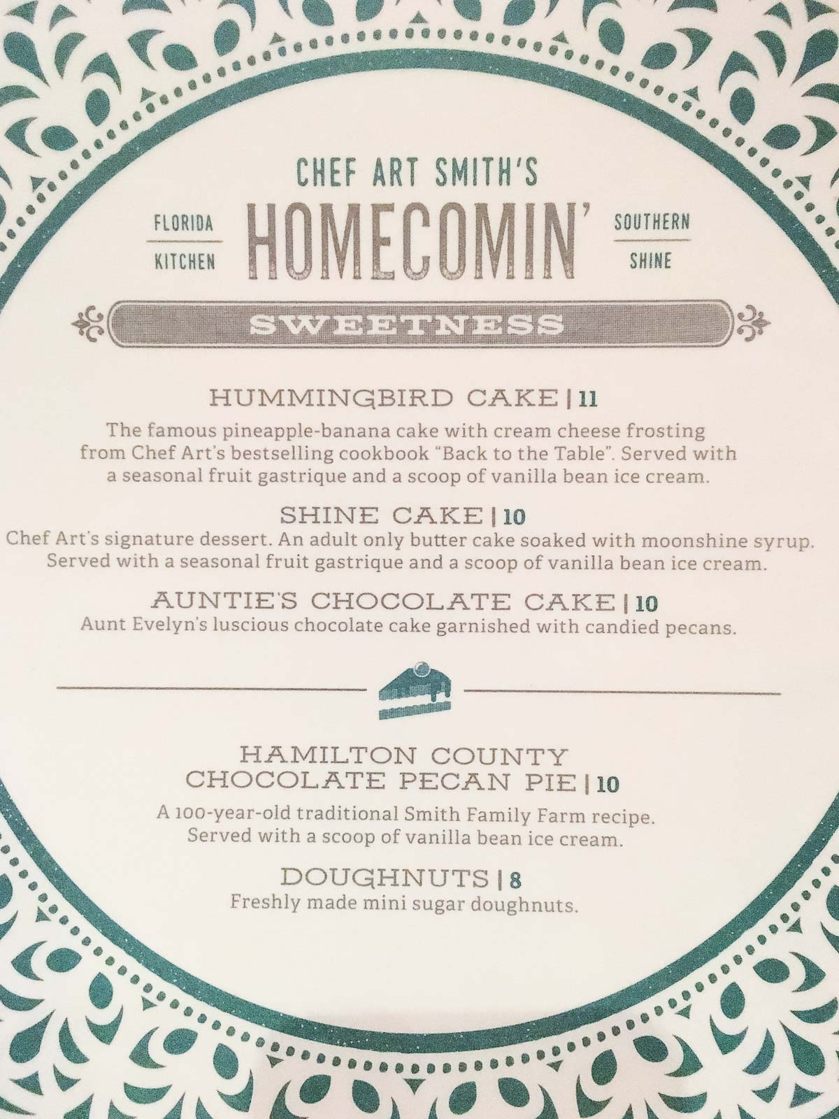 Picture of the dessert menu at Art Smith's Homecomin'