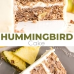 This classic Hummingbird Cake is packed with pineapple, banana, and pecans. Ultra moist cake layers with hints of cinnamon and nutmeg covered in a cream cheese frosting. | livforcake.com