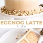 Eggnog Latte Cake! Transform a favourite holiday beverage into a decadent dessert with this Eggnog Latte Cake! Eggnog infused cake layers paired with eggnog and espresso buttercreams. | livforcake.com