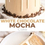 This white chocolate mocha cake pairs tender white chocolate espresso cake layers with a whipped white chocolate ganache and silky espresso buttercream. | livforcake.com