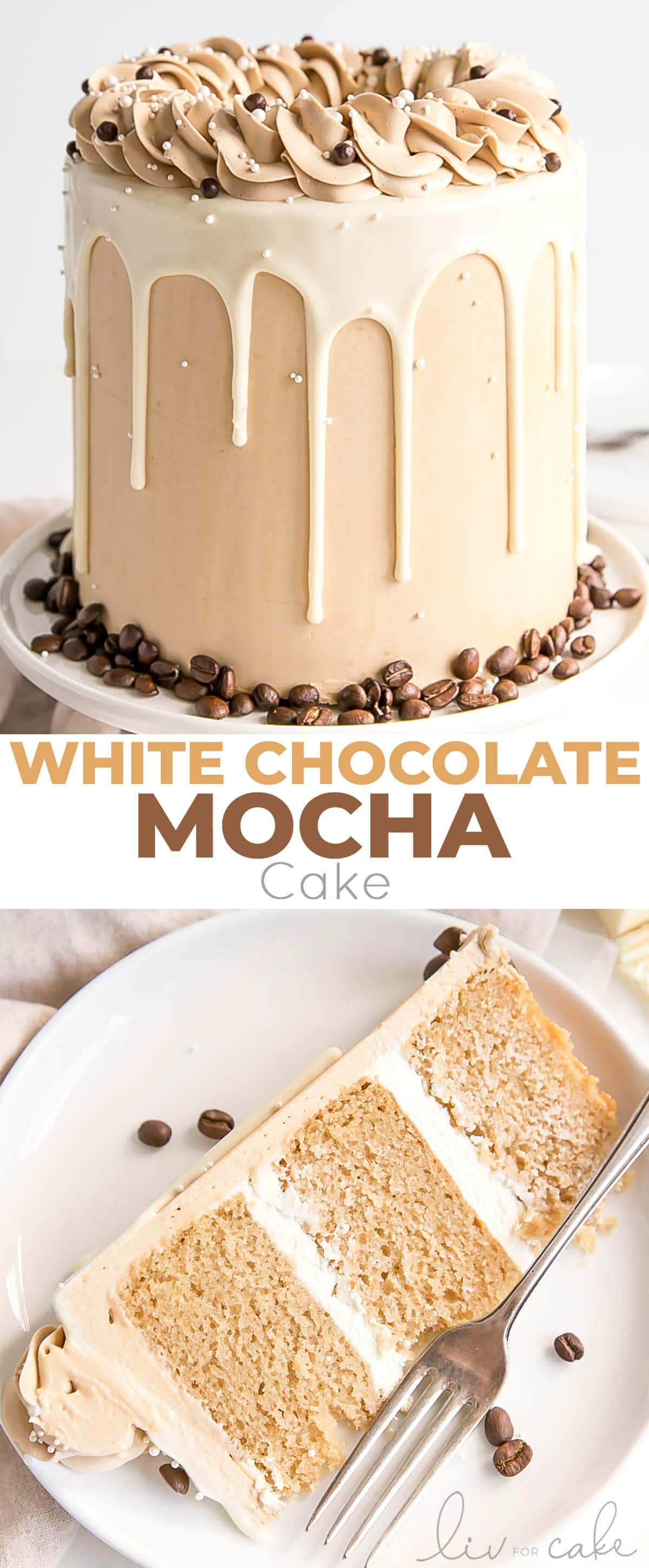 White chocolate mocha cake collage.