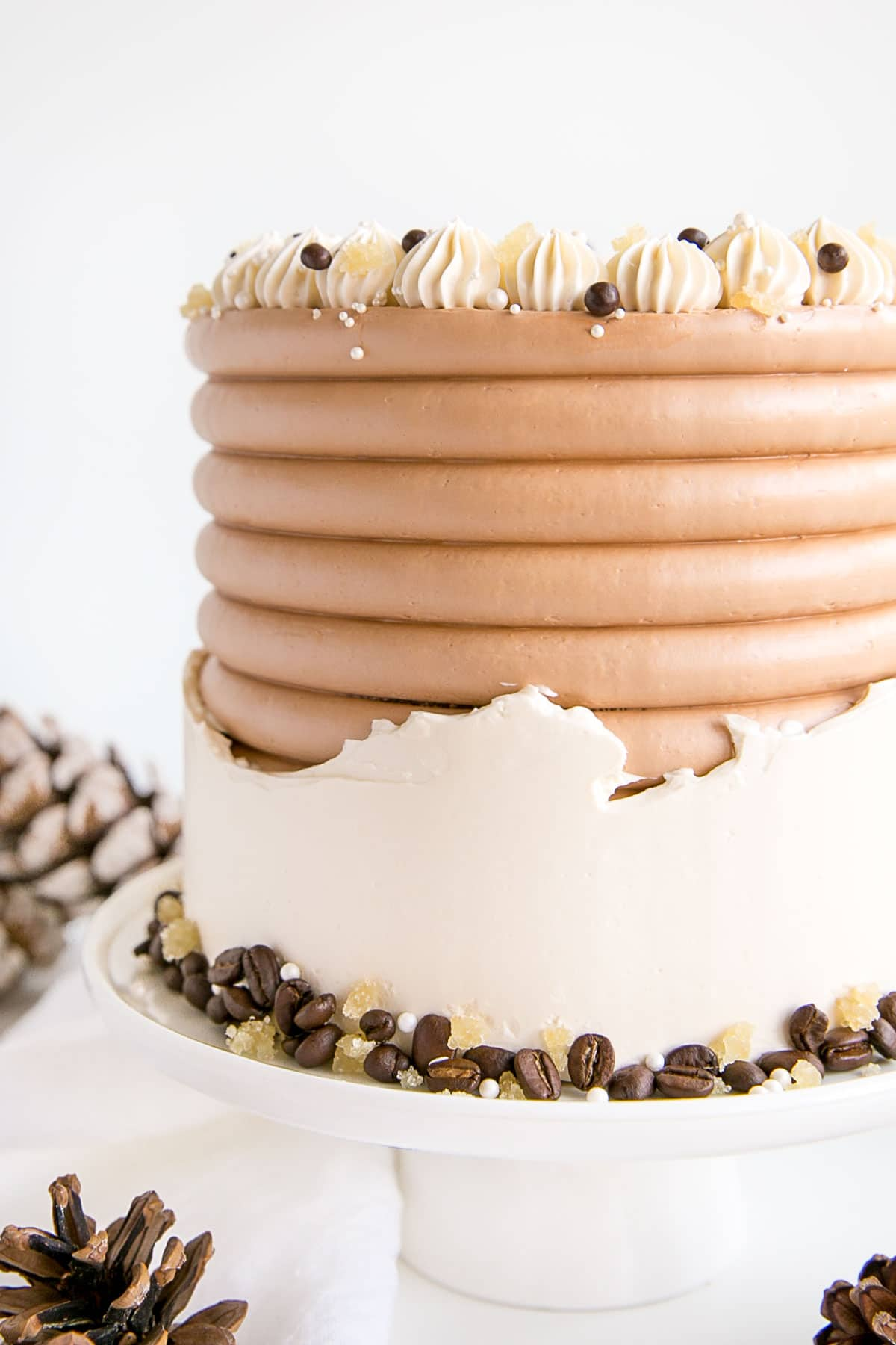 Close up of the side of the cake showing the fault line frosting technique.