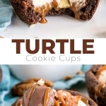 These Turtle Cookie Cups transform a candy confection into a delicious dessert! Chocolate cookie cups filled with homemade caramel, pecans, and caramel whipped cream.   livforcake.com