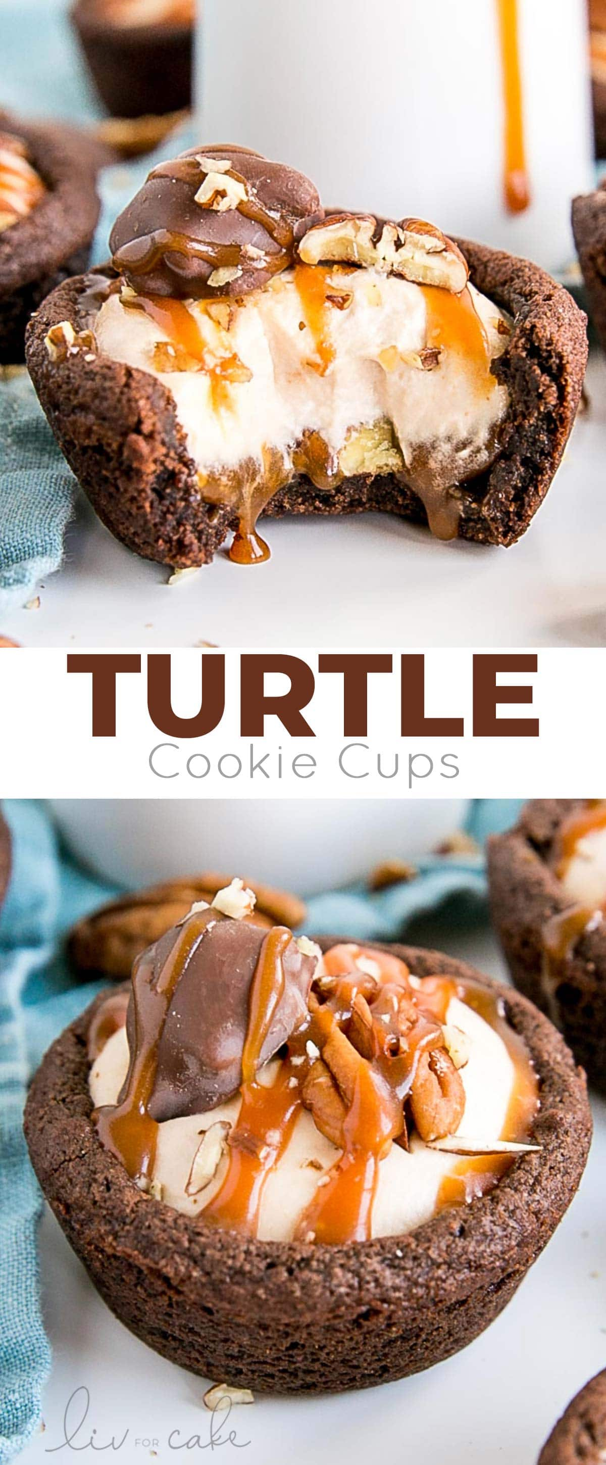 Turtle Cookie Cups collage