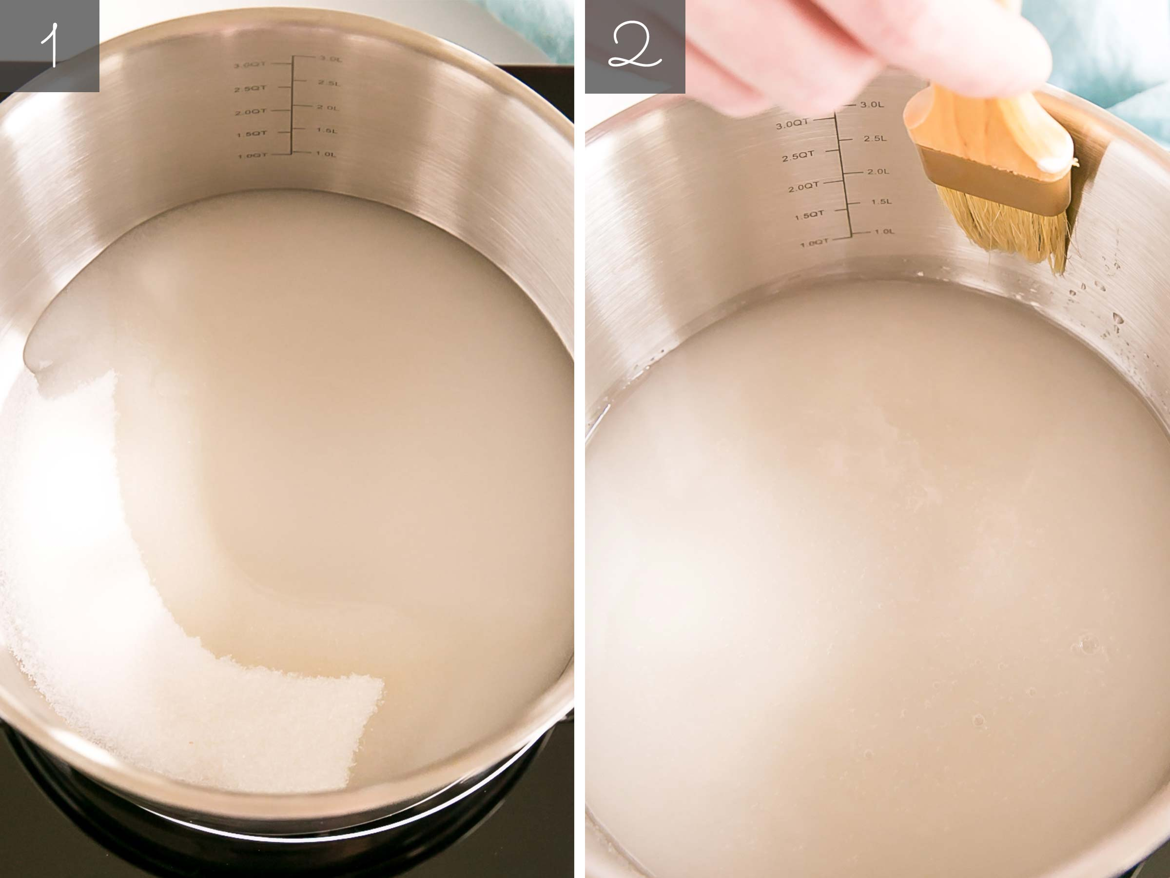 Side by side of sugar and water in a pot and brushing the sides down.