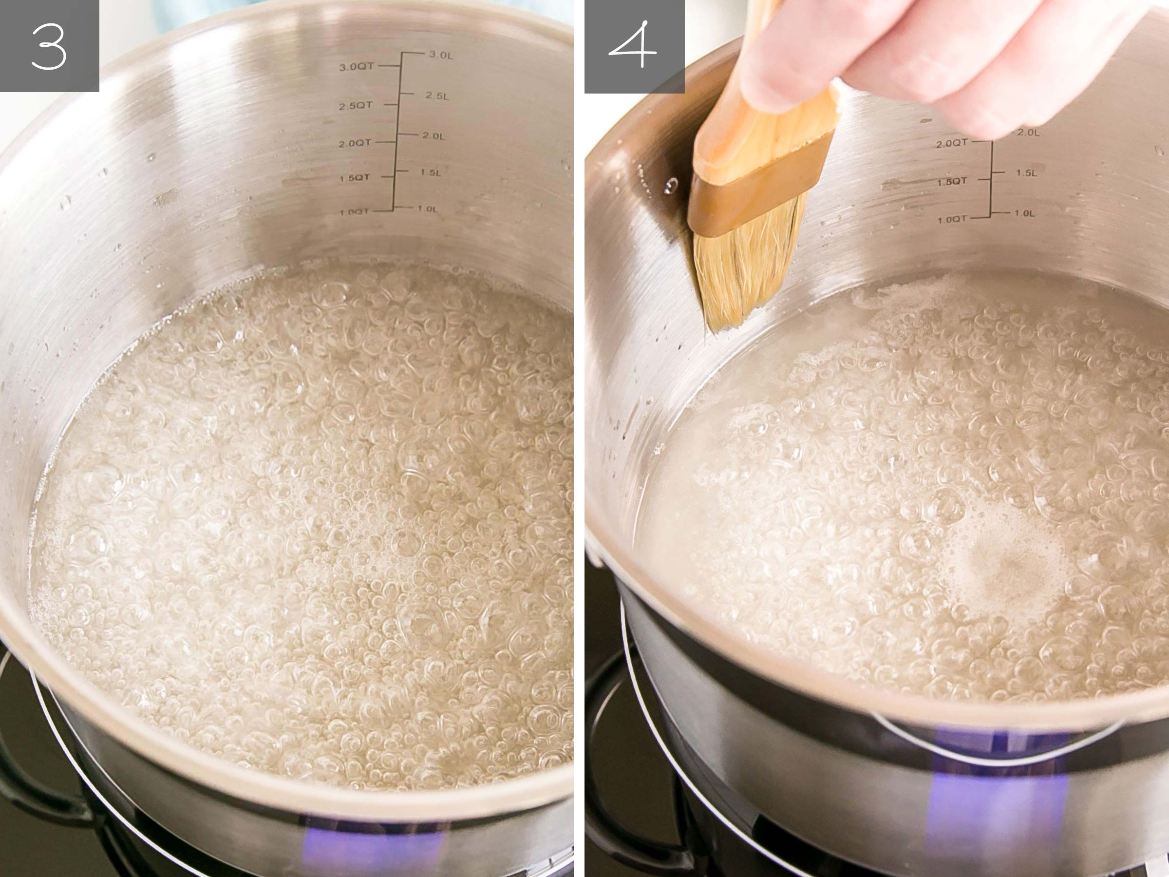 Side by side photos -- sugar brought to a boil, brushing the sides down.