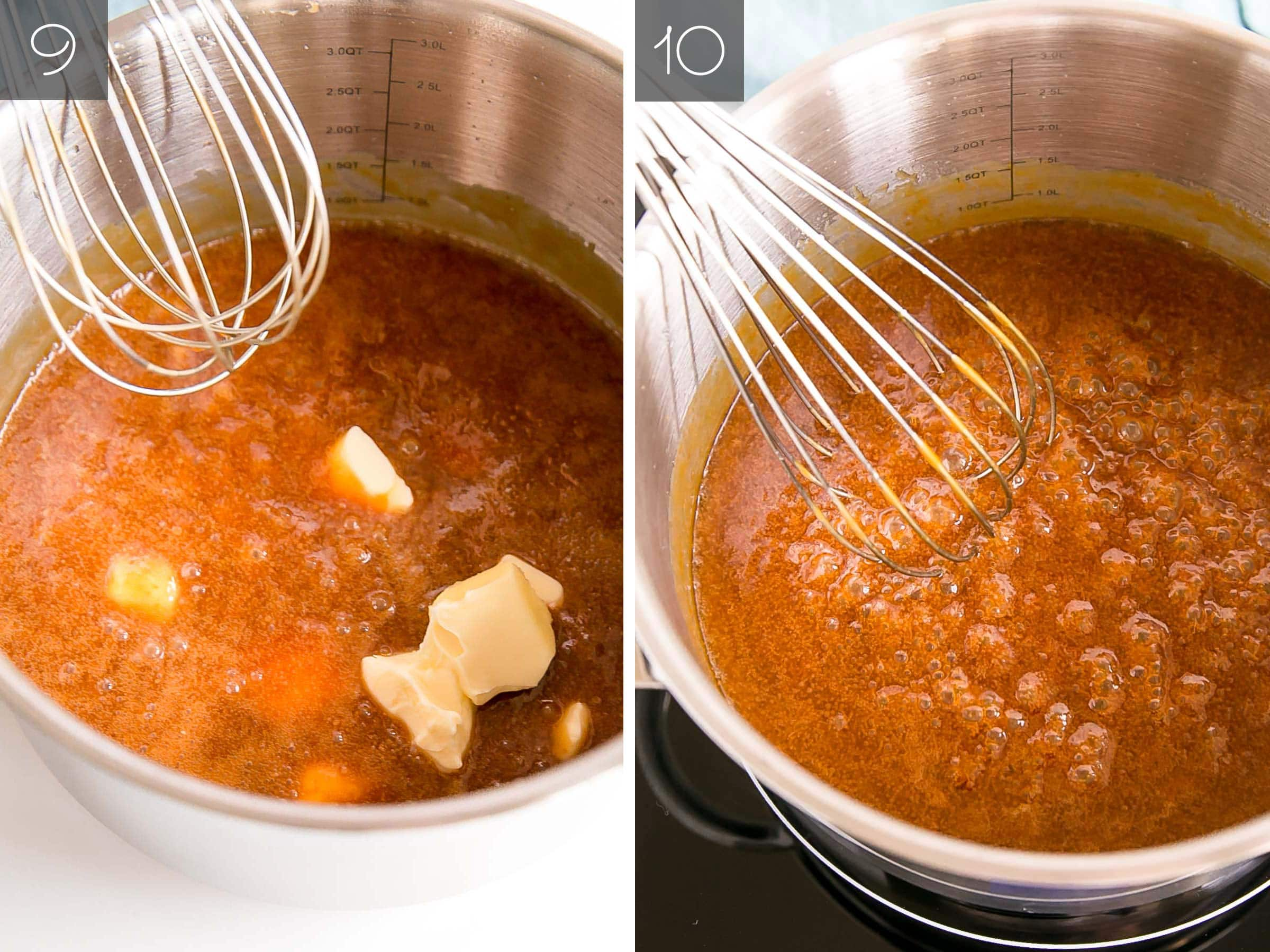 Side by side photos - adding the butter and the caramel simmering.