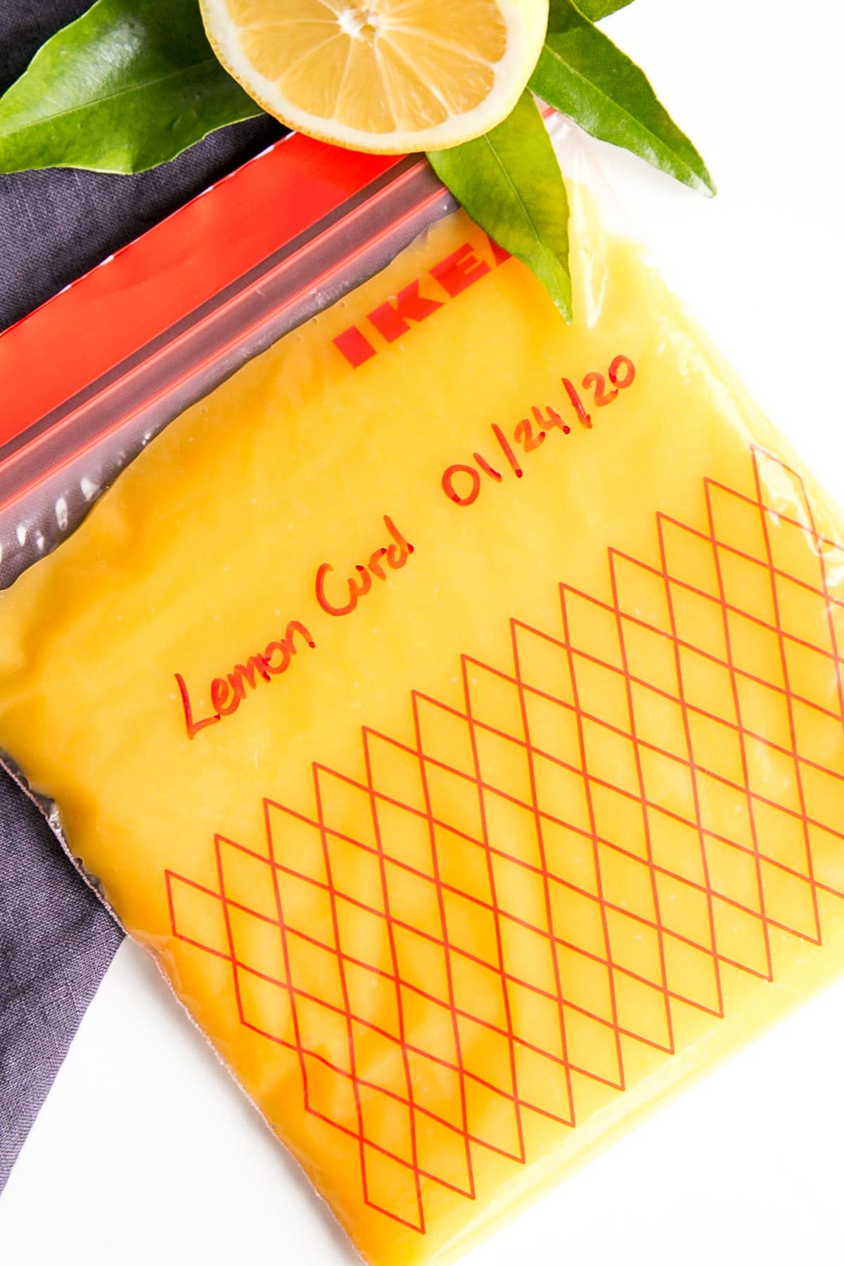 Lemon curd in a freezer bag.
