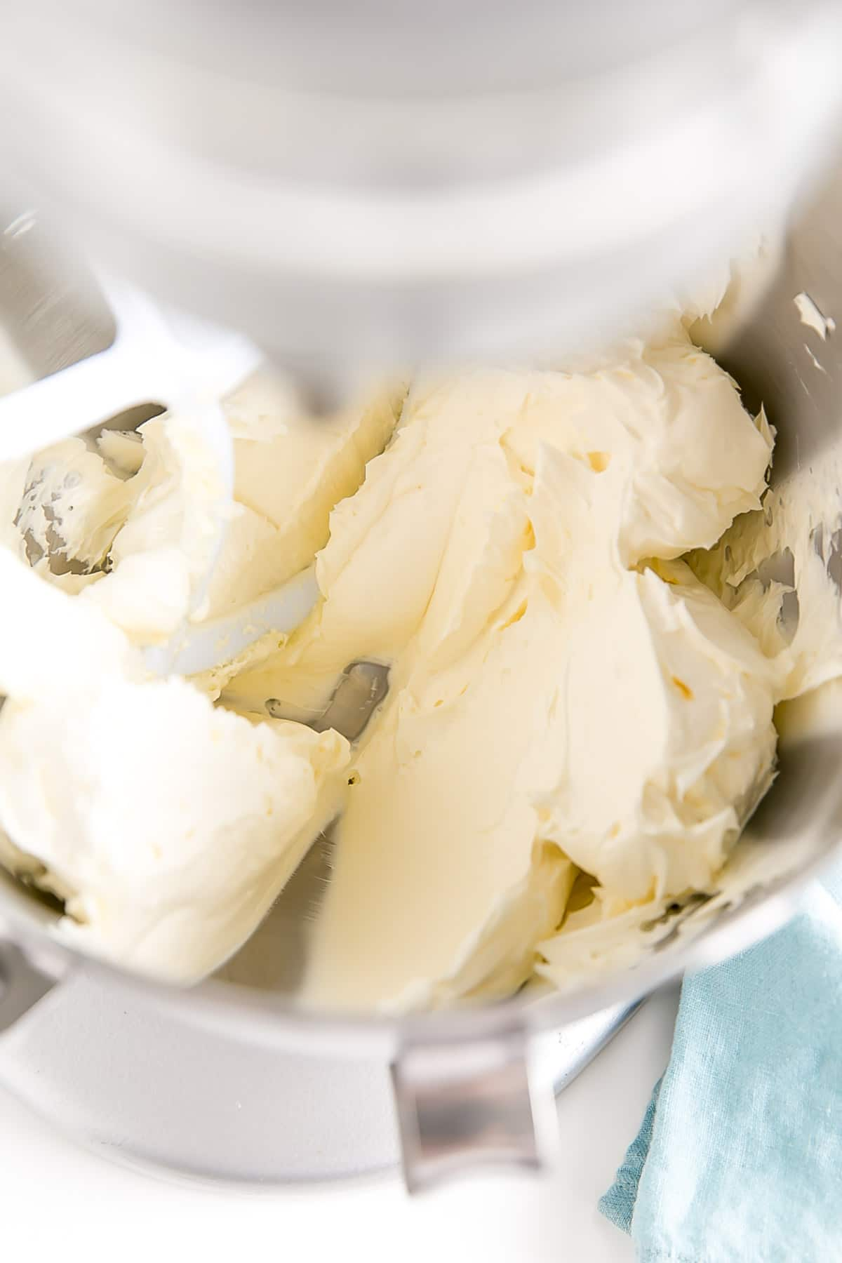 Butter whipped until it's pale and fluffy.