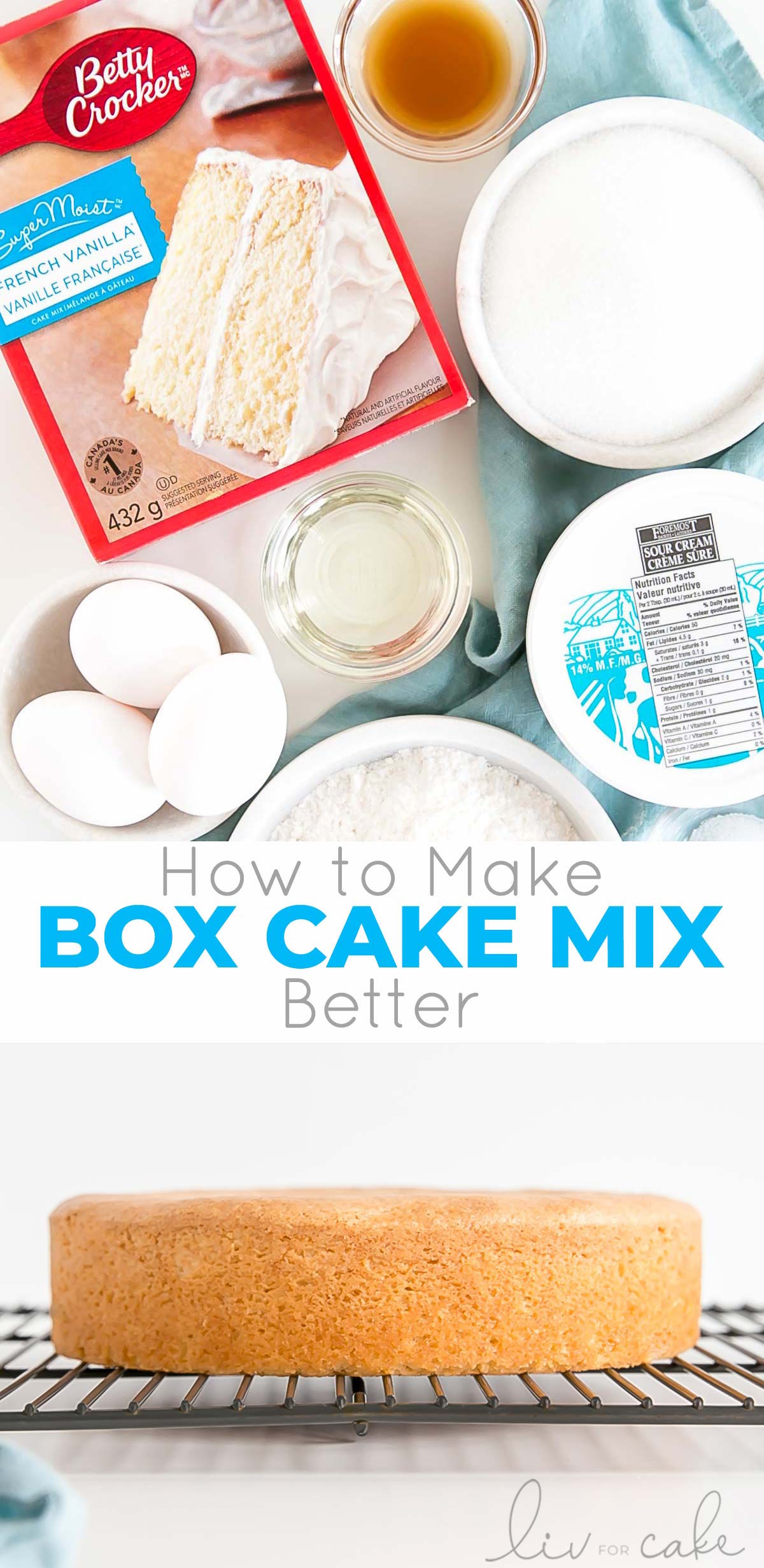 Box cake mix collage