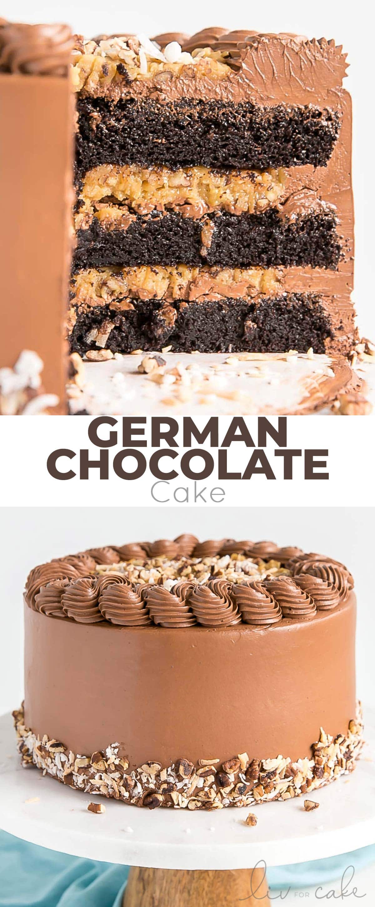 German chocolate cake photo collage.